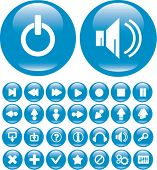 cute glossy blue media buttons. vector