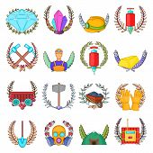 Best Mining Icons Set. Cartoon Set Of 16 Best Mining Vector Icons For Web Isolated On White Backgrou poster