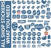 mega blue shopping stickers set. vector