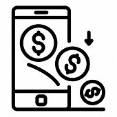 Smartphone Money Investor Icon. Outline Smartphone Money Investor Vector Icon For Web Design Isolate poster