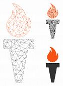 Mesh Torch Fire Model With Triangle Mosaic Icon. Wire Carcass Triangular Network Of Torch Fire. Vect poster