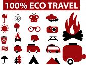 100% eco travel signs. vector