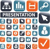 24 mega presentation buttons. vector