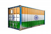 The Concept Of  India Export-import, Container Transporting And National Delivery Of Goods. The Tran poster