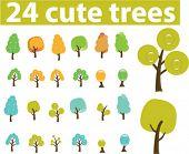 24 cute season trees. vector