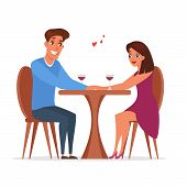 Romantic Date In Restaurant Vector Illustration. Married Couple, Husband And Wife Drinking Wine. Cel poster