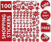 100 shopping stickers. vector