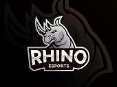 Rhino Mascot Logo Sport Team. Modern Illustration Concept For Badge And Emblem. Mascot Sport Team Ba poster