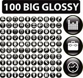 100 media buttons. vector