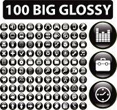 botones de 100 medios de comunicación. Vector