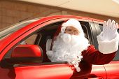 Authentic Santa Claus Driving His Modern Car, Outdoors poster