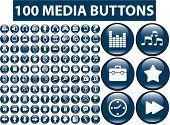 100 media buttons. vector