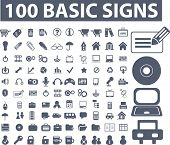 100 basic signs. raster version. see more vector signs in my portfolio
