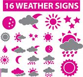 16 weather signs. vector