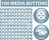 100 media glossy buttons. vector