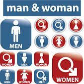 man & woman buttons. vector