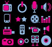 new colorful media icons, vector