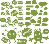 eco chat & idea signs & bubbles, vector