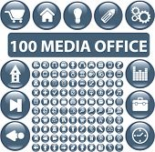 100 media office glossy buttons, vector illustration