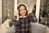 Fur Headphones Accessory. Girl Cute Child Wear Soft Furry Headphones. Warm Fashion Accessory. Winter poster