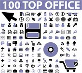 100 top office signs, icons, vector illustrations