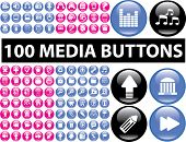 100 media buttons, signs, icons, vector illustrations