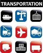 transportation, logistics presentation buttons, icons, signs, vector illustrations