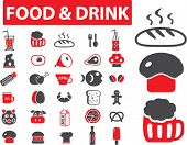 food & drink icons, signs, vector illustrations