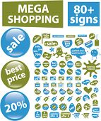 80+ mega shopping stickers, vector