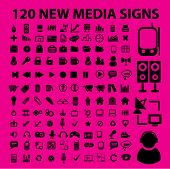 120 new black media icons, signs, vector illustrations