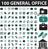 100 general office icons, signs, vector illustrations