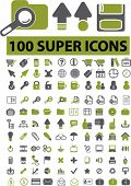 100 super icons, signs, vector illustration