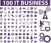 100 it business icons, signs, vector illustrations