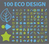 100 iconos del diseño de eco, signos, ilustraciones de vectores
