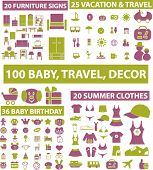 100 baby, travel, decor, icons, signs, vector illustrations