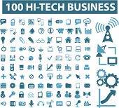 100 high technology business icons, signs, vector illustrations