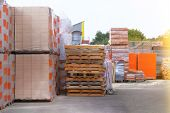 Construction Materials. Building Materials And Pallets For Construction In Construction Store. Pile  poster