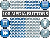 100 media buttons, icons, signs, vector illustrations