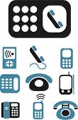 phone & cell phone icons, signs, vector illustrations