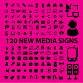 120 new media set of icons, signs, vector illustrations