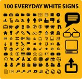 100 everyday set icons, signs, vector illustrations