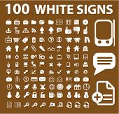 100 white icons, signs, vector illustrations set