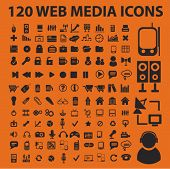 120 web media iconen, tekenen, vector illustratie