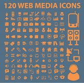 120 web media icons, signs, vector illustrations