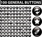100 general glossy buttons icons, signs, vector illustrations