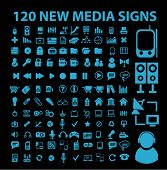 120 new blue media signs, icons, vector illustrations