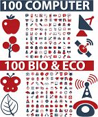 200 computer web bio icons, signs, vector illustrations