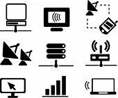comunicación & los iconos de red, signos, ilustraciones de vectores