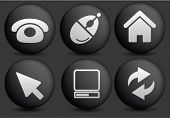 web office round black web buttons, icons, signs set, vector