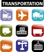 transportation logistics icons, buttons, vector